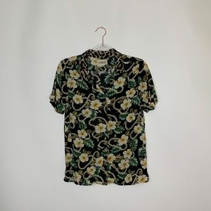 Ralph Lauren denim supply floral print blouse S
